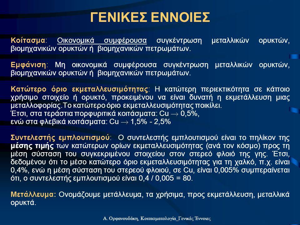 Α. Ορφανουδάκη, Κοιτασματολογία_Γενικές Έννοιες Κοίτασμα: Οικονομικά συμφέρουσα συγκέντρωση μεταλλικών ορυκτών, βιομηχανικών ορυκτών ή βιομηχανικών πε