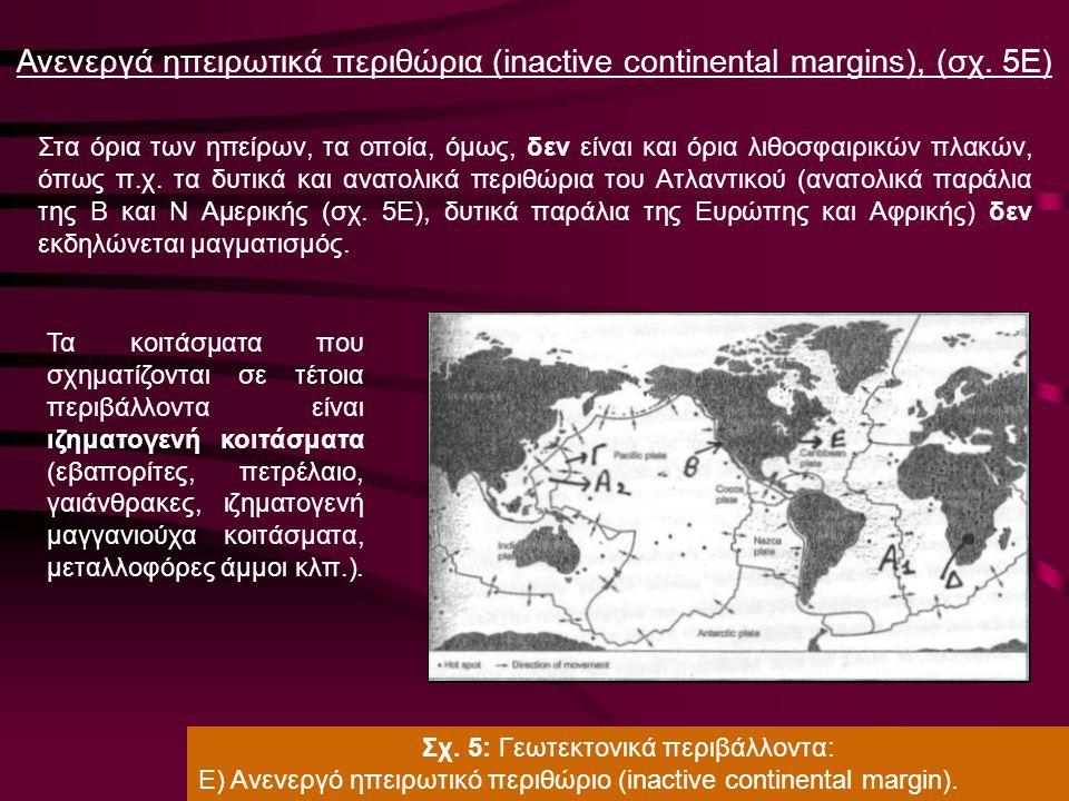 Α. Ορφανουδάκη, Κοιτασματολογία_Γενικές Έννοιες Ανενεργά ηπειρωτικά περιθώρια (inactive continental margins), (σχ. 5Ε) Στα όρια των ηπείρων, τα οποία,