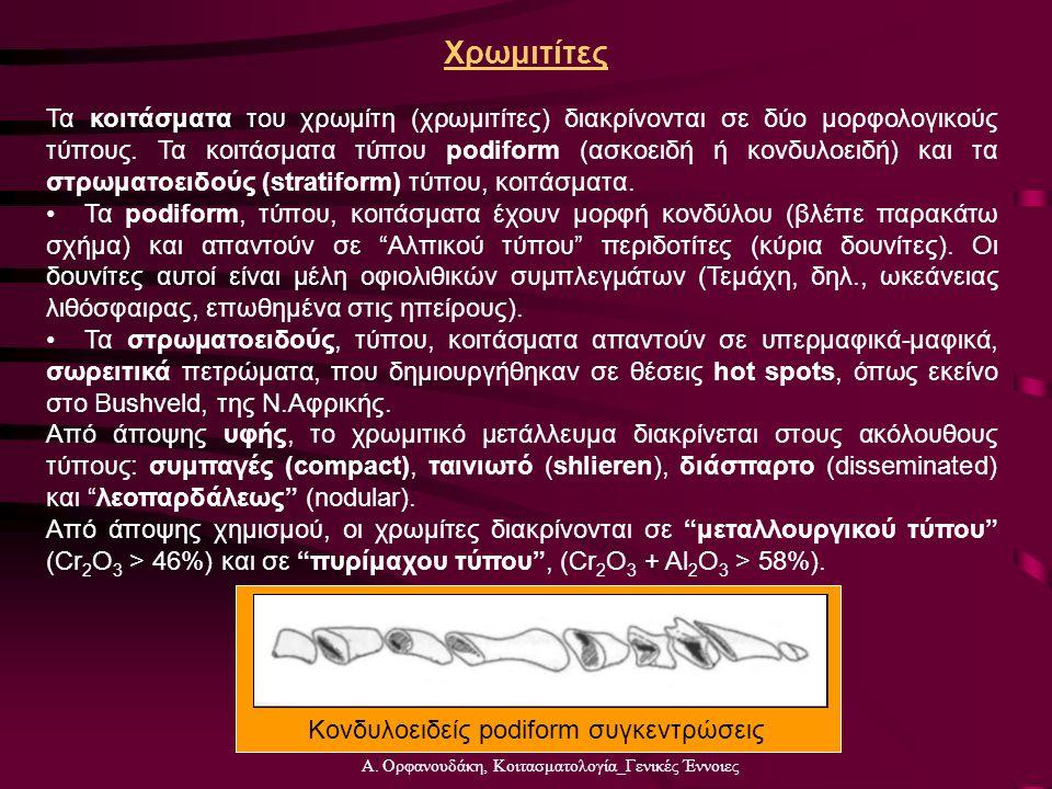 Α. Ορφανουδάκη, Κοιτασματολογία_Γενικές Έννοιες Χρωμιτίτες Τα κοιτάσματα του χρωμίτη (χρωμιτίτες) διακρίνονται σε δύο μορφολογικούς τύπους. Τα κοιτάσμ