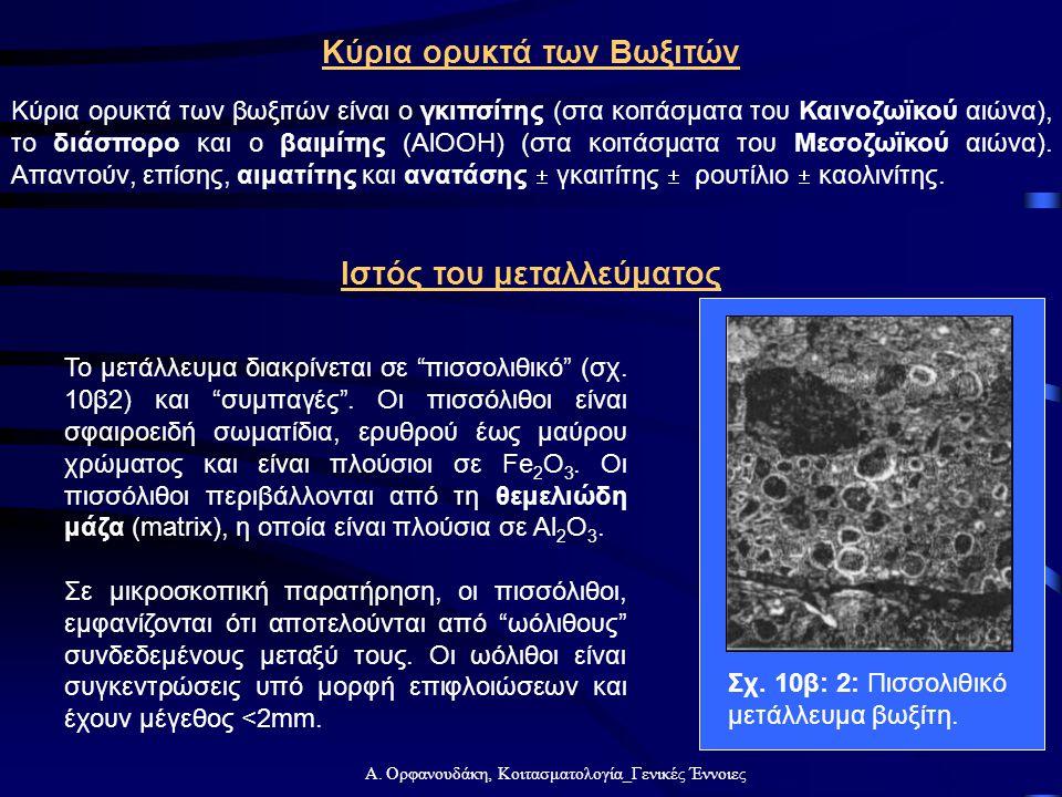 Α. Ορφανουδάκη, Κοιτασματολογία_Γενικές Έννοιες Κύρια ορυκτά των Βωξιτών Κύρια ορυκτά των βωξιτών είναι ο γκιπσίτης (στα κοιτάσματα του Καινοζωϊκού αι