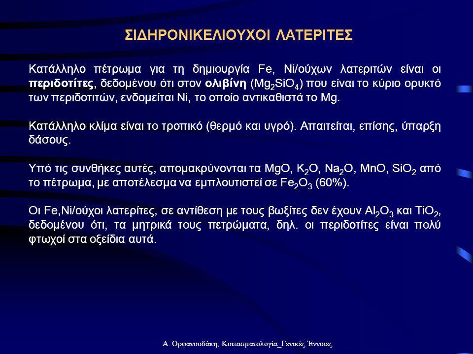 Α. Ορφανουδάκη, Κοιτασματολογία_Γενικές Έννοιες ΣΙΔΗΡΟΝΙΚΕΛΙΟΥΧΟΙ ΛΑΤΕΡΙΤΕΣ Κατάλληλο πέτρωμα για τη δημιουργία Fe, Ni/ούχων λατεριτών είναι οι περιδο