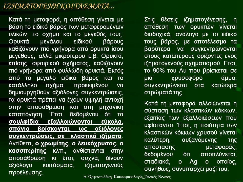 Α. Ορφανουδάκη, Κοιτασματολογία_Γενικές Έννοιες Kατά τη μεταφορά, η απόθεση γίνεται με βάση το ειδικό βάρος των μεταφερομένων υλικών, το σχήμα και το