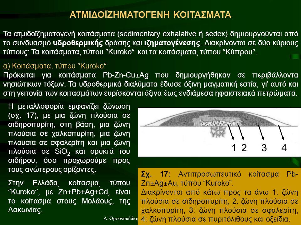 Α. Ορφανουδάκη, Κοιτασματολογία_Γενικές Έννοιες ΑΤΜΙΔΟΪΖΗΜΑΤΟΓΕΝΗ ΚΟΙΤΑΣΜΑΤΑ Τα ατμιδοϊζηματογενή κοιτάσματα (sedimentary exhalative ή sedex) δημιουργ