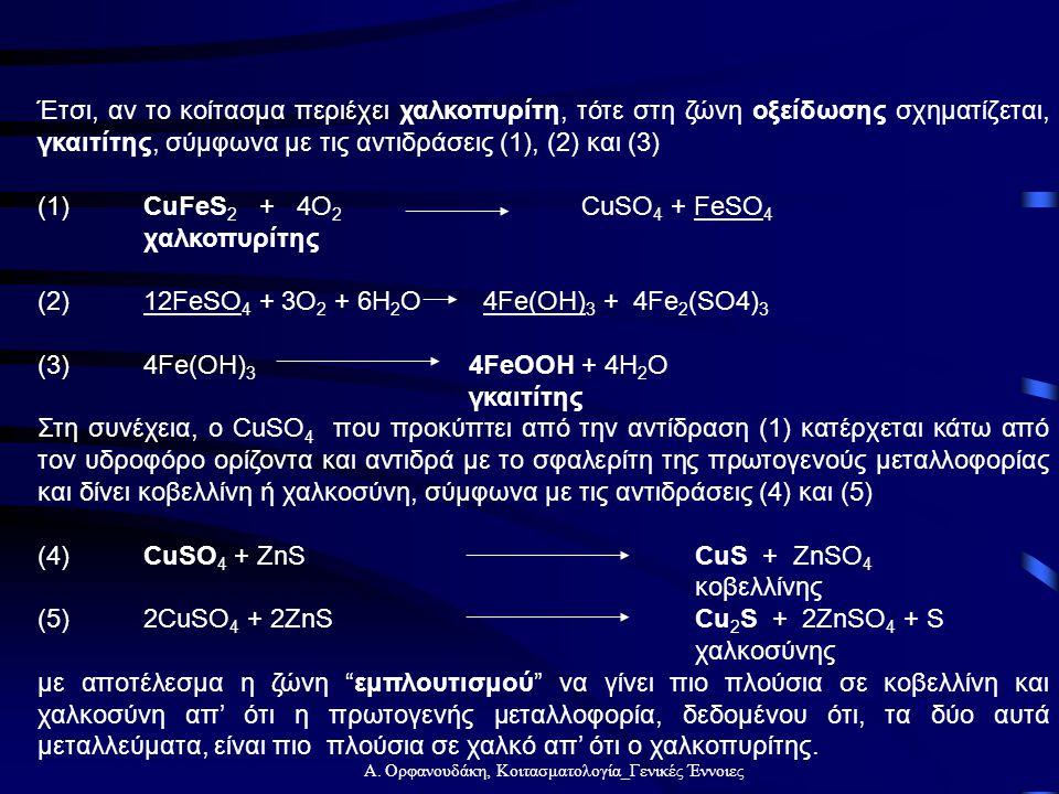 Α. Ορφανουδάκη, Κοιτασματολογία_Γενικές Έννοιες Έτσι, αν το κοίτασμα περιέχει χαλκοπυρίτη, τότε στη ζώνη οξείδωσης σχηματίζεται, γκαιτίτης, σύμφωνα με