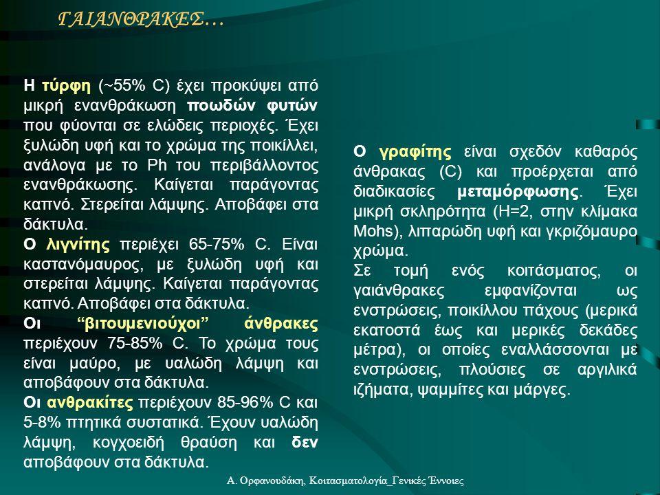 Α. Ορφανουδάκη, Κοιτασματολογία_Γενικές Έννοιες ΓΑΙΑΝΘΡΑΚΕΣ… Η τύρφη (  55% C) έχει προκύψει από μικρή ενανθράκωση ποωδών φυτών που φύονται σε ελώδει