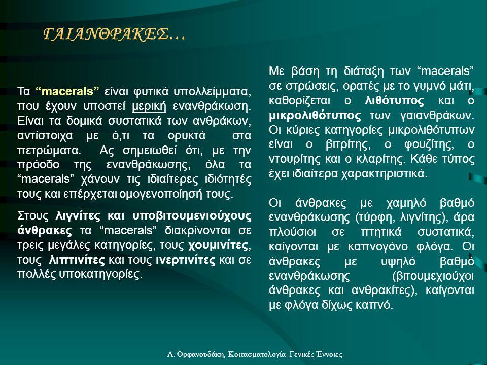 """Α. Ορφανουδάκη, Κοιτασματολογία_Γενικές Έννοιες ΓΑΙΑΝΘΡΑΚΕΣ… Με βάση τη διάταξη των """"macerals"""" σε στρώσεις, ορατές με το γυμνό μάτι, καθορίζεται ο λιθ"""