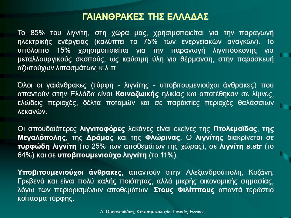 Α. Ορφανουδάκη, Κοιτασματολογία_Γενικές Έννοιες Το 85% του λιγνίτη, στη χώρα μας, χρησιμοποιείται για την παραγωγή ηλεκτρικής ενέργειας (καλύπτει το 7