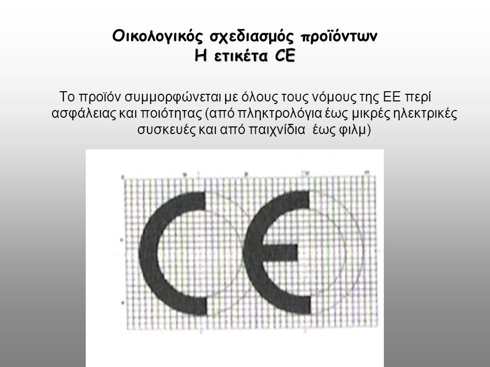 Η ετικέτα CE Οικολογικός σχεδιασμός προϊόντων Η ετικέτα CE Το προϊόν συμμορφώνεται με όλους τους νόμους της ΕΕ περί ασφάλειας και ποιότητας (από πληκτ