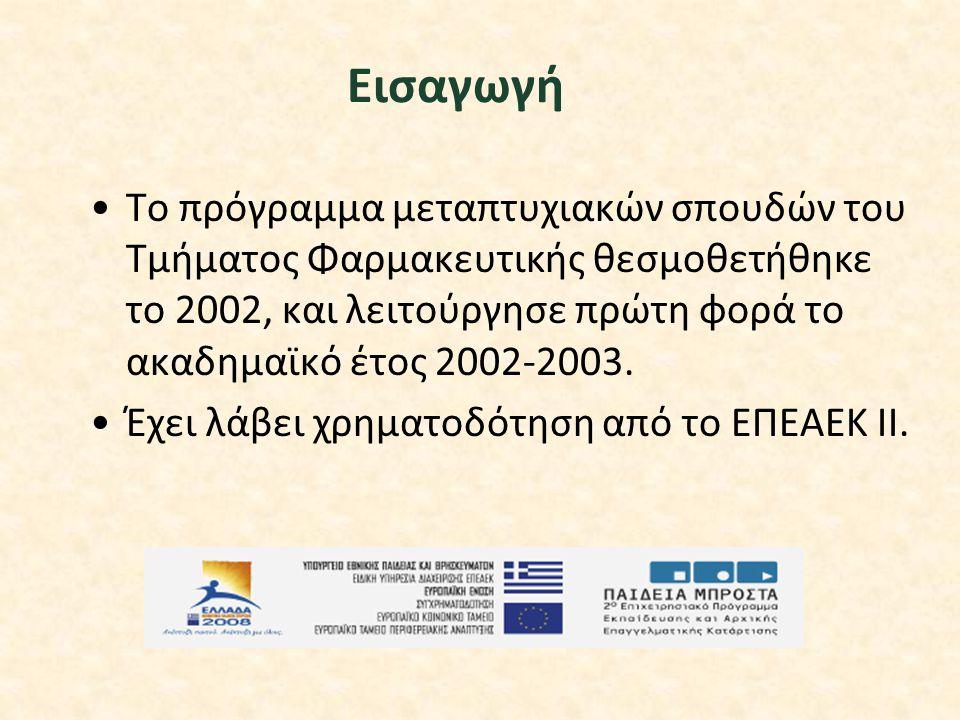 Eισαγωγή Tο πρόγραμμα μεταπτυχιακών σπουδών του Tμήματος Φαρμακευτικής θεσμοθετήθηκε το 2002, και λειτούργησε πρώτη φορά το ακαδημαϊκό έτος 2002-2003.