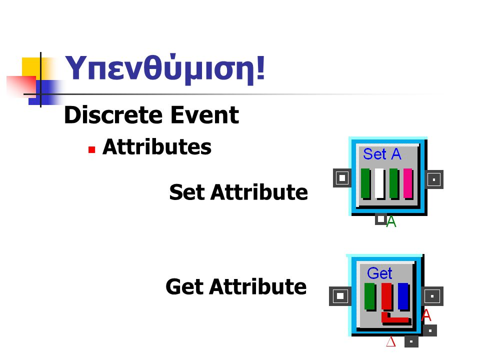 Υπενθύμιση! Discrete Event Attributes Set Attribute Get Attribute
