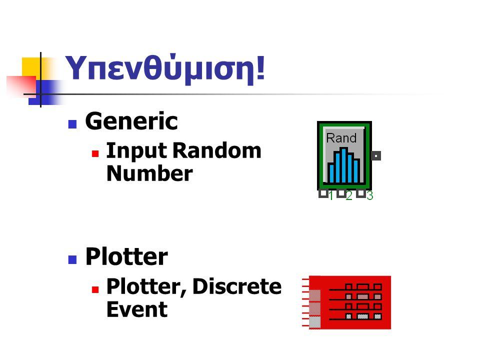Υπενθύμιση! Generic Input Random Number Plotter Plotter, Discrete Event