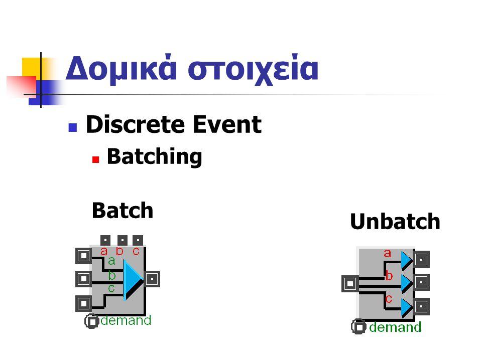 Δομικά στοιχεία Discrete Event Batching Batch Unbatch