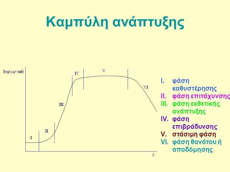 Καμπύλη ανάπτυξης I.φάση καθυστέρησης II.φάση επιτάχυνσης III.φάση εκθετικής ανάπτυξης IV.φάση επιβράδυνσης V.στάσιμη φάση VI.φάση θανάτου ή αποδόμηση