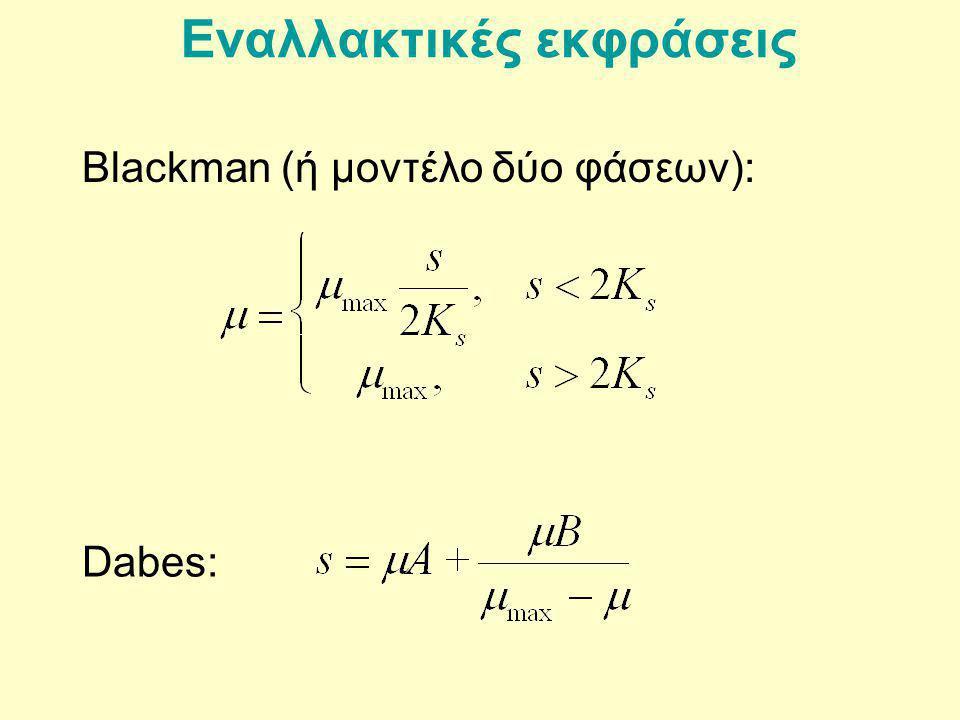 Εναλλακτικές εκφράσεις Blackman (ή μοντέλο δύο φάσεων): Dabes: