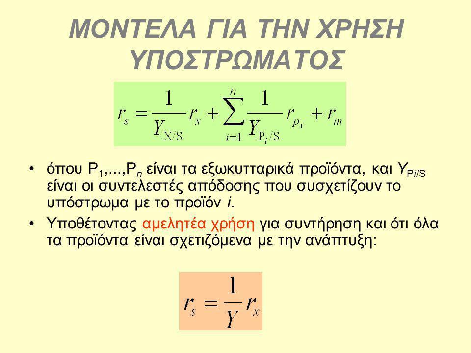 ΜΟΝΤΕΛΑ ΓΙΑ ΤΗΝ ΧΡΗΣΗ ΥΠΟΣΤΡΩΜΑΤΟΣ όπου P 1,...,P n είναι τα εξωκυτταρικά προϊόντα, και Y Pi/S είναι οι συντελεστές απόδοσης που συσχετίζουν το υπόστρ
