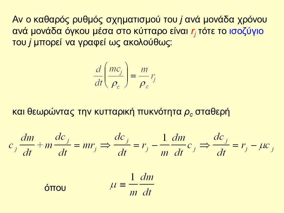 Αν ο καθαρός ρυθμός σχηματισμού του j ανά μονάδα χρόνου ανά μονάδα όγκου μέσα στο κύτταρο είναι r j τότε το ισοζύγιο του j μπορεί να γραφεί ως ακολούθ