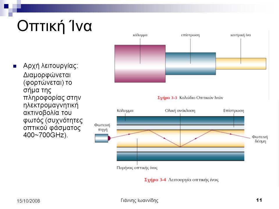 Γιάννης Ιωαννίδης 12 15/10/2008 Οπτική Ίνα Πολύ μεγάλο εύρος ζώνης (συνήθη bitrate 2~10Gbps μπορούν να φθάσουν μέχρι Τbps) Πάρα πολύ μεγάλες αποστάσεις μετάδοσης Δεν επηρεάζονται από ηλεκτρομαγνητικές παρεμβολές (άρα ελάχιστος θόρυβος) Μεγάλη ασφάλεια Δύσκολο στη χρήση Ακριβό