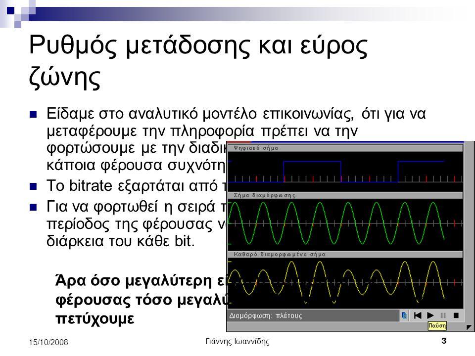Γιάννης Ιωαννίδης 4 15/10/2008 Απόσταση μετάδοσης και θόρυβος Θόρυβος χαρακτηρίζεται οποιοδήποτε σήμα σε ένα τηλεπικοινωνιακό κανάλι εκτός από το σήμα που μεταφέρει την πληροφορία.
