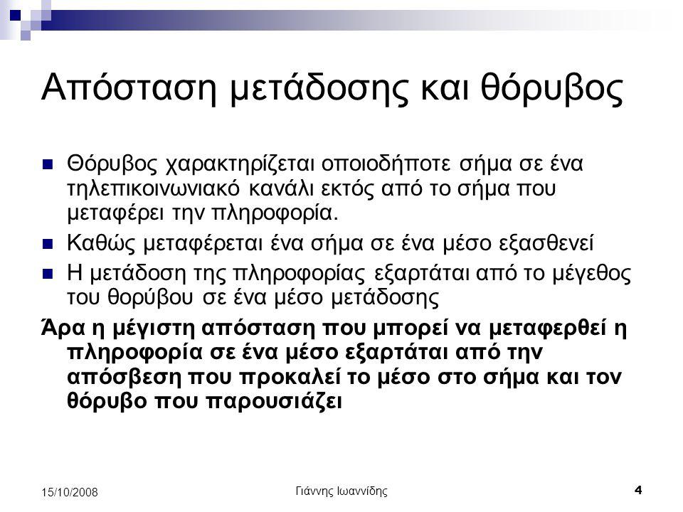 Γιάννης Ιωαννίδης 4 15/10/2008 Απόσταση μετάδοσης και θόρυβος Θόρυβος χαρακτηρίζεται οποιοδήποτε σήμα σε ένα τηλεπικοινωνιακό κανάλι εκτός από το σήμα