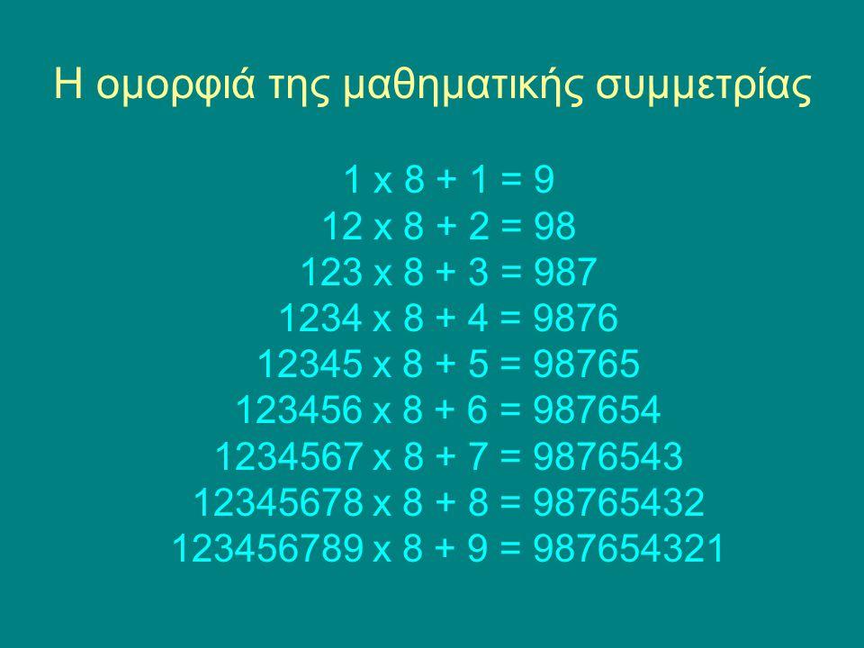 Η ομορφιά της μαθηματικής συμμετρίας 1 x 8 + 1 = 9 12 x 8 + 2 = 98 123 x 8 + 3 = 987 1234 x 8 + 4 = 9876 12345 x 8 + 5 = 98765 123456 x 8 + 6 = 987654