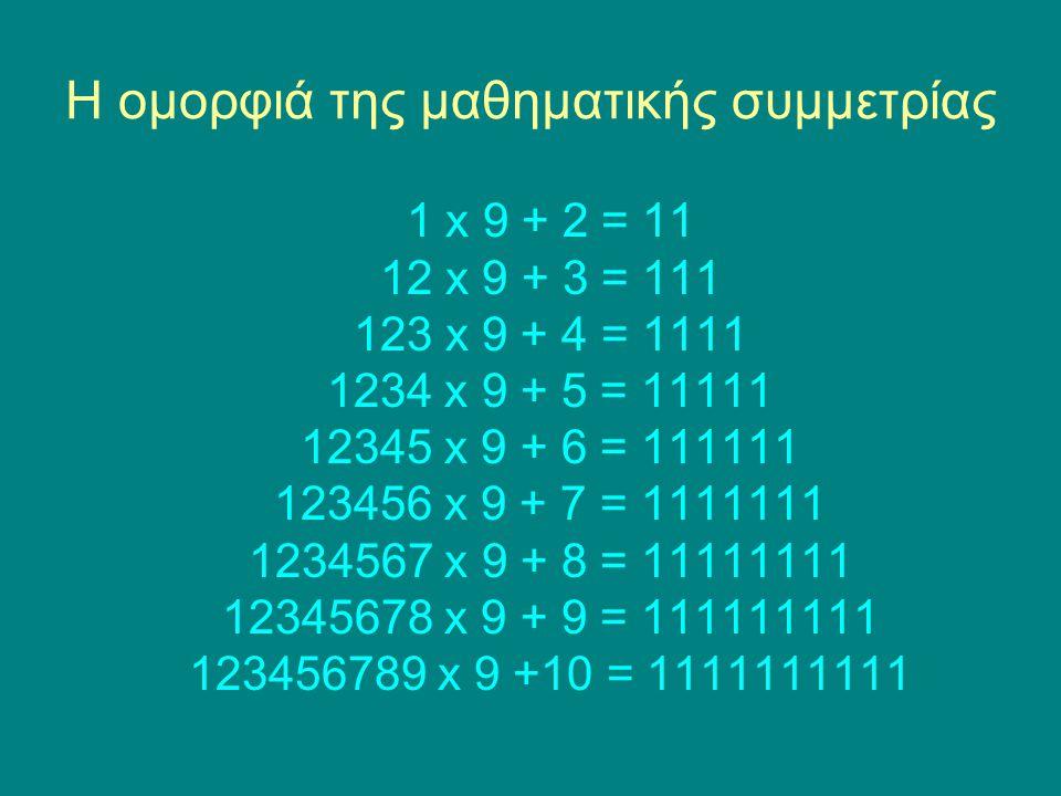 Η ομορφιά της μαθηματικής συμμετρίας 1 x 9 + 2 = 11 12 x 9 + 3 = 111 123 x 9 + 4 = 1111 1234 x 9 + 5 = 11111 12345 x 9 + 6 = 111111 123456 x 9 + 7 = 1