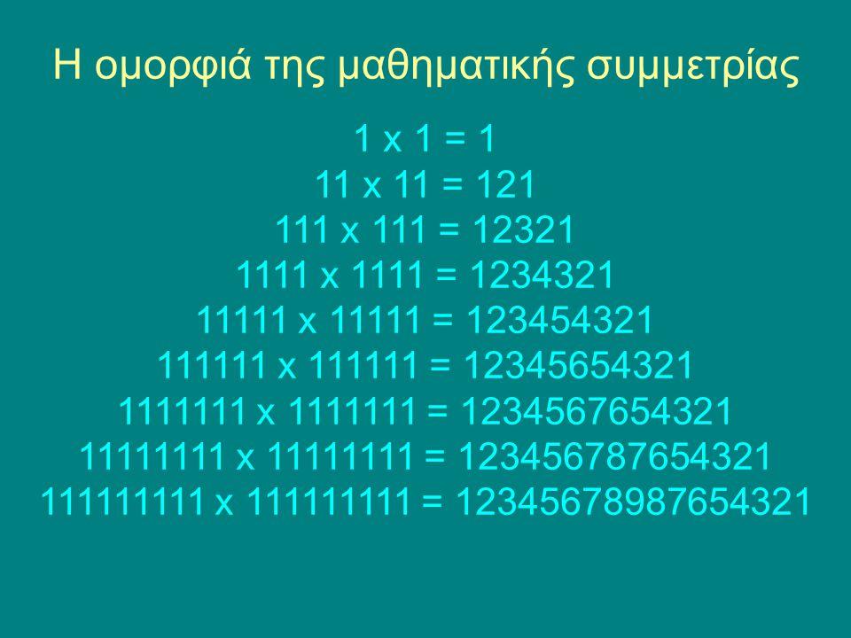 Η ομορφιά της μαθηματικής συμμετρίας 1 x 1 = 1 11 x 11 = 121 111 x 111 = 12321 1111 x 1111 = 1234321 11111 x 11111 = 123454321 111111 x 111111 = 12345