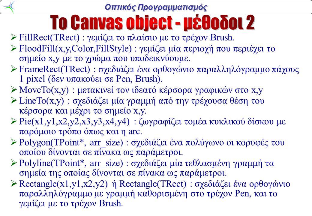Οπτικός Προγραμματισμός  FillRect(TRect) : γεμίζει το πλαίσιο με το τρέχον Brush.  FloodFill(x,y,Color,FillStyle) : γεμίζει μία περιοχή που περιέχει