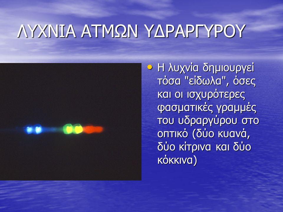 ΛΥΧΝΙΑ ΑΤΜΩΝ ΥΔΡΑΡΓΥΡΟΥ Η λυχνία δημιουργεί τόσα είδωλα , όσες και οι ισχυρότερες φασματικές γραμμές του υδραργύρου στο οπτικό (δύο κυανά, δύο κίτρινα και δύο κόκκινα) Η λυχνία δημιουργεί τόσα είδωλα , όσες και οι ισχυρότερες φασματικές γραμμές του υδραργύρου στο οπτικό (δύο κυανά, δύο κίτρινα και δύο κόκκινα)