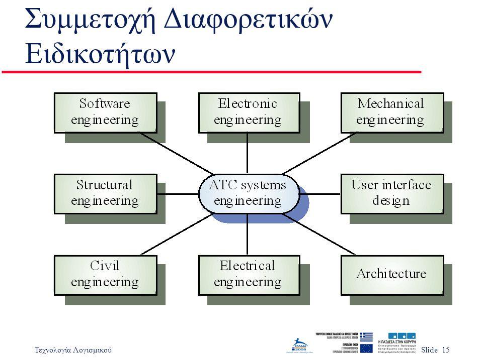 Τεχνολογία ΛογισμικούSlide 15 Συμμετοχή Διαφορετικών Ειδικοτήτων