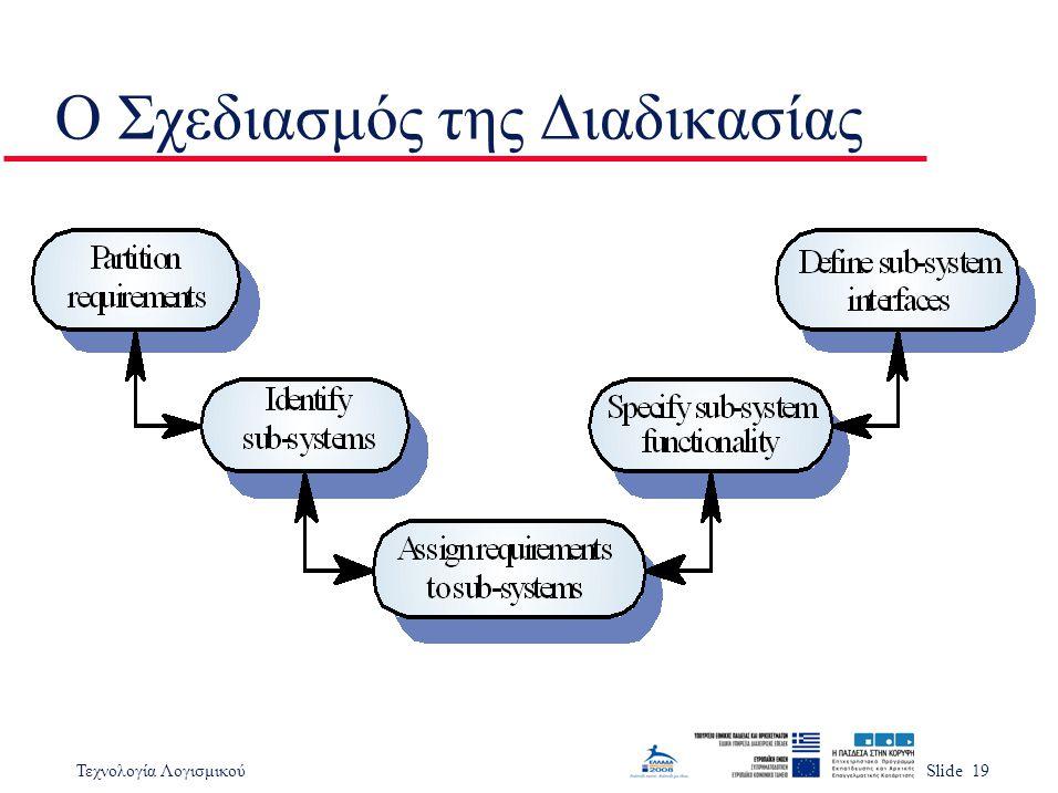 Τεχνολογία ΛογισμικούSlide 19 Ο Σχεδιασμός της Διαδικασίας