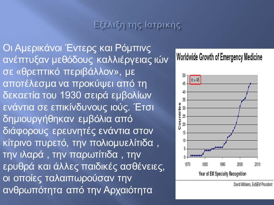 Οι Αμερικάνοι Έντερς και Ρόμπινς ανέπτυξαν μεθόδους καλλιέργειας ιών σε « θρεπτικό περιβάλλον », με αποτέλεσμα να προκύψει από τη δεκαετία του 1930 σε