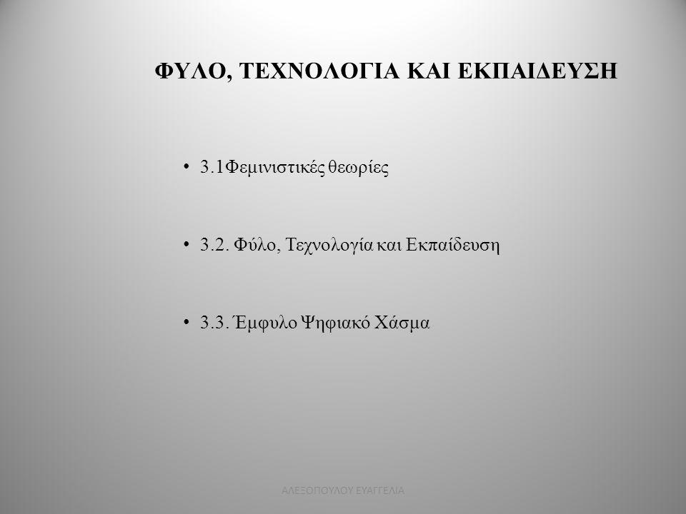 ΦΥΛΟ, ΤΕΧΝΟΛΟΓΙΑ ΚΑΙ ΕΚΠΑΙΔΕΥΣΗ 3.1Φεμινιστικές θεωρίες 3.2. Φύλο, Τεχνολογία και Εκπαίδευση 3.3. Έμφυλο Ψηφιακό Χάσμα ΑΛΕΞΟΠΟΥΛΟΥ ΕΥΑΓΓΕΛΙΑ
