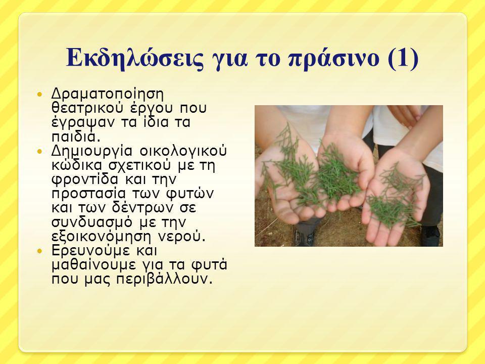 Εκδηλώσεις για το πράσινο (1) Δραματοποίηση θεατρικού έργου που έγραψαν τα ίδια τα παιδιά. Δημιουργία οικολογικού κώδικα σχετικού με τη φροντίδα και τ