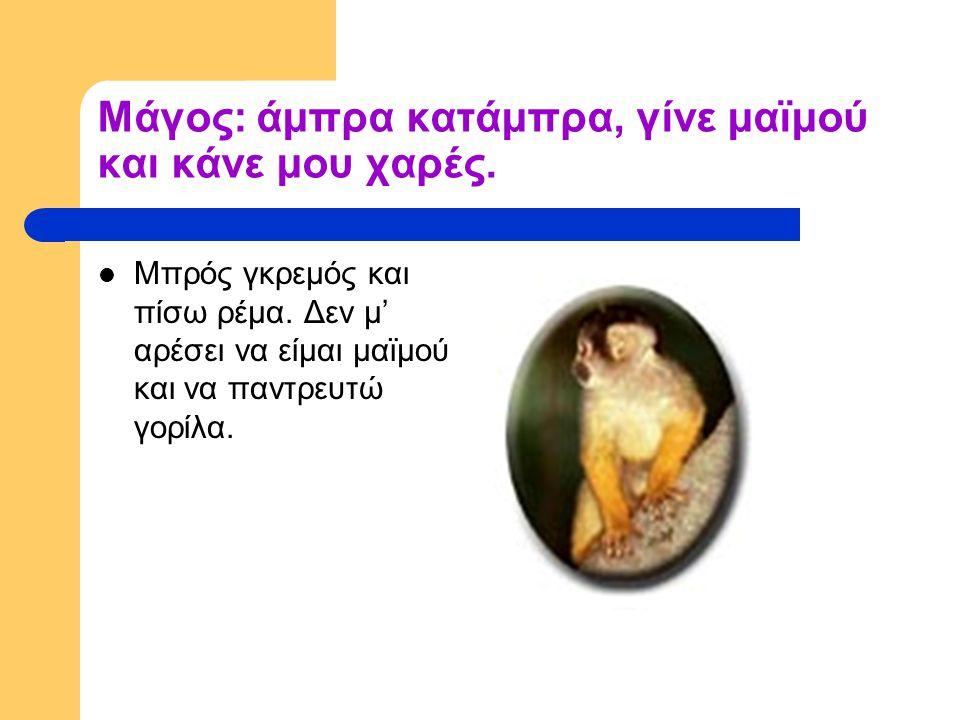 Μάγος: άμπρα κατάμπρα, γίνε μαϊμού και κάνε μου χαρές.