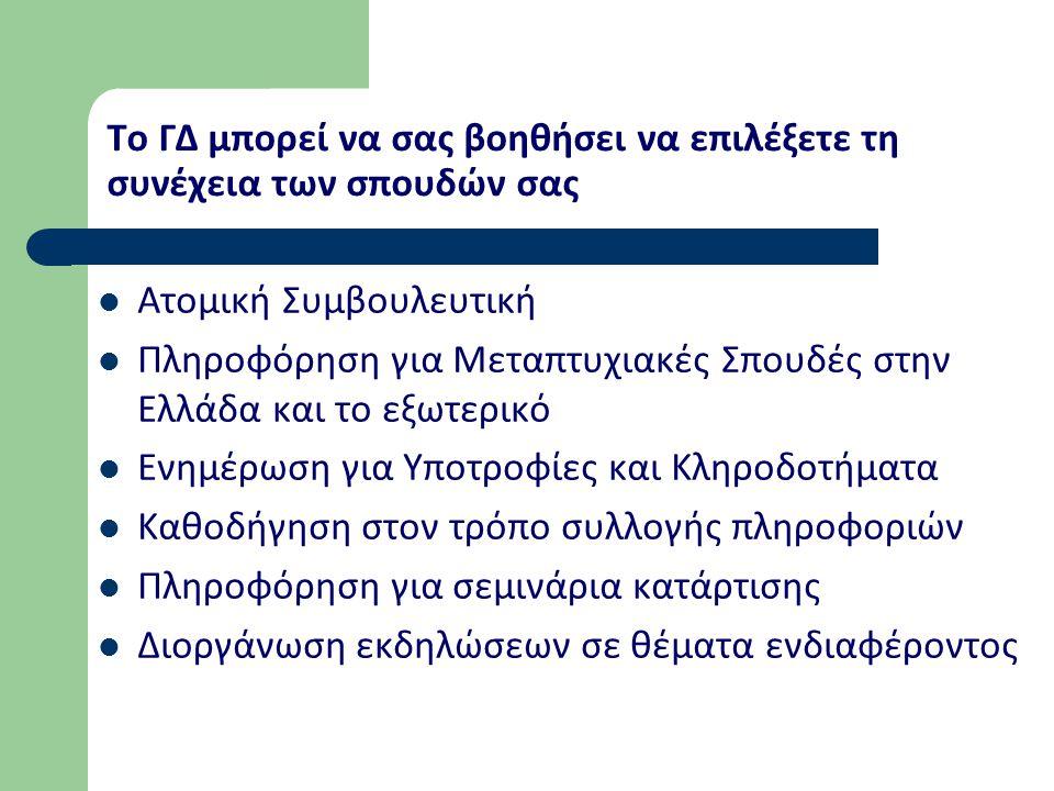 Το ΓΔ μπορεί να σας βοηθήσει να επιλέξετε τη συνέχεια των σπουδών σας Ατομική Συμβουλευτική Πληροφόρηση για Μεταπτυχιακές Σπουδές στην Ελλάδα και το ε