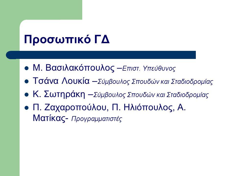 Προσωπικό ΓΔ Μ. Βασιλακόπουλος – Επιστ. Υπεύθυνος Τσάνα Λουκία – Σύμβουλος Σπουδών και Σταδιοδρομίας Κ. Σωτηράκη – Σύμβουλος Σπουδών και Σταδιοδρομίας