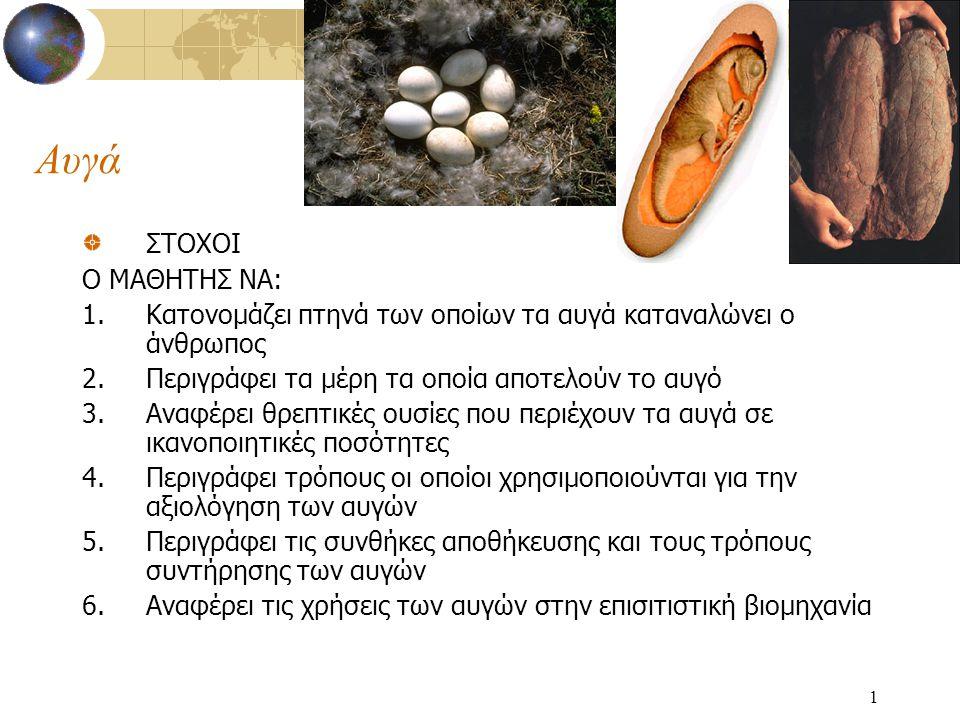 1 Αυγά ΣΤΟΧΟΙ Ο ΜΑΘΗΤΗΣ ΝΑ: 1.Κατονομάζει πτηνά των οποίων τα αυγά καταναλώνει ο άνθρωπος 2.Περιγράφει τα μέρη τα οποία αποτελούν το αυγό 3.Αναφέρει θ