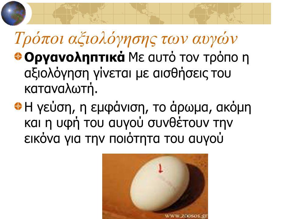 Τρόποι αξιολόγησης των αυγών Οργανοληπτικά Με αυτό τον τρόπο η αξιολόγηση γίνεται με αισθήσεις του καταναλωτή. Η γεύση, η εμφάνιση, το άρωμα, ακόμη κα