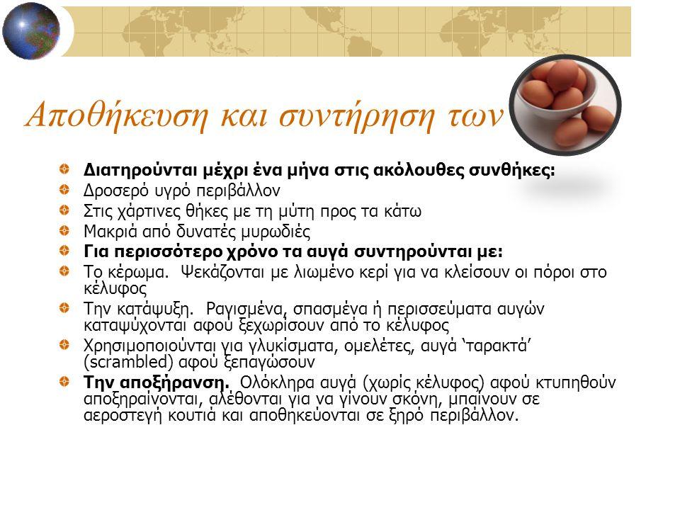 Αποθήκευση και συντήρηση των αυγ Διατηρούνται μέχρι ένα μήνα στις ακόλουθες συνθήκες: Δροσερό υγρό περιβάλλον Στις χάρτινες θήκες με τη μύτη προς τα κ