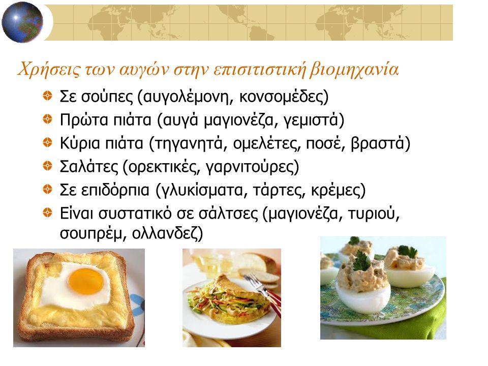 Χρήσεις των αυγών στην επισιτιστική βιομηχανία Σε σούπες (αυγολέμονη, κονσομέδες) Πρώτα πιάτα (αυγά μαγιονέζα, γεμιστά) Κύρια πιάτα (τηγανητά, ομελέτε