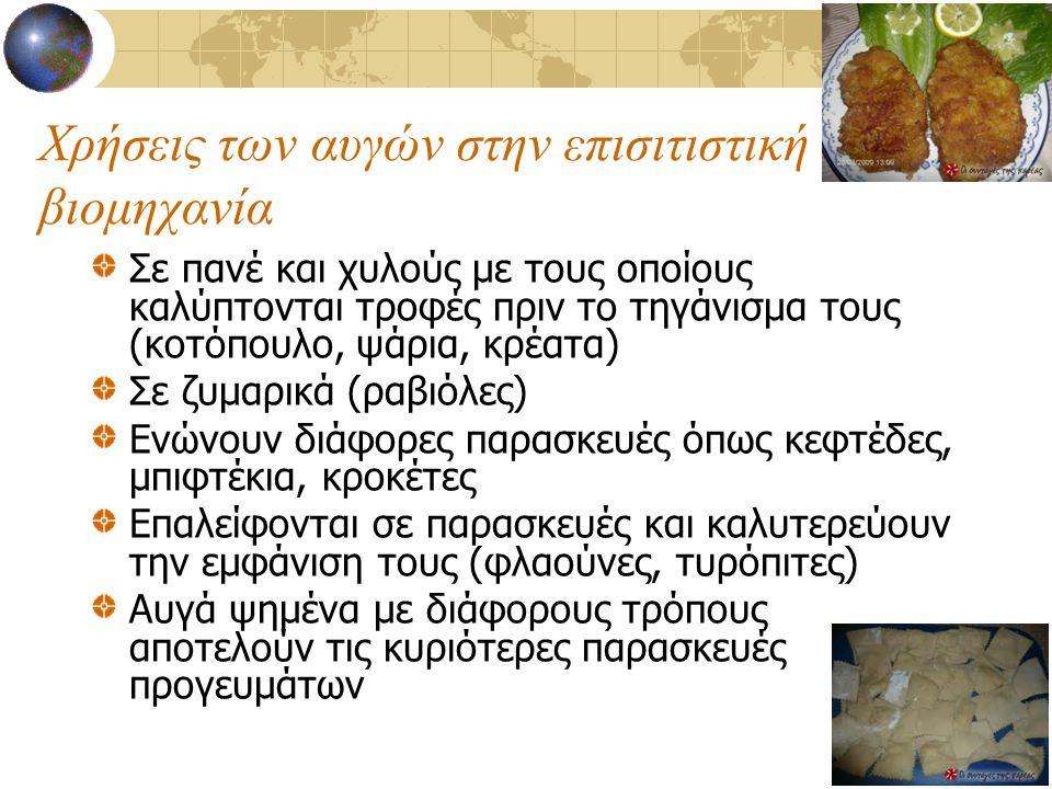 Χρήσεις των αυγών στην επισιτιστική βιομηχανία Σε πανέ και χυλούς με τους οποίους καλύπτονται τροφές πριν το τηγάνισμα τους (κοτόπουλο, ψάρια, κρέατα)