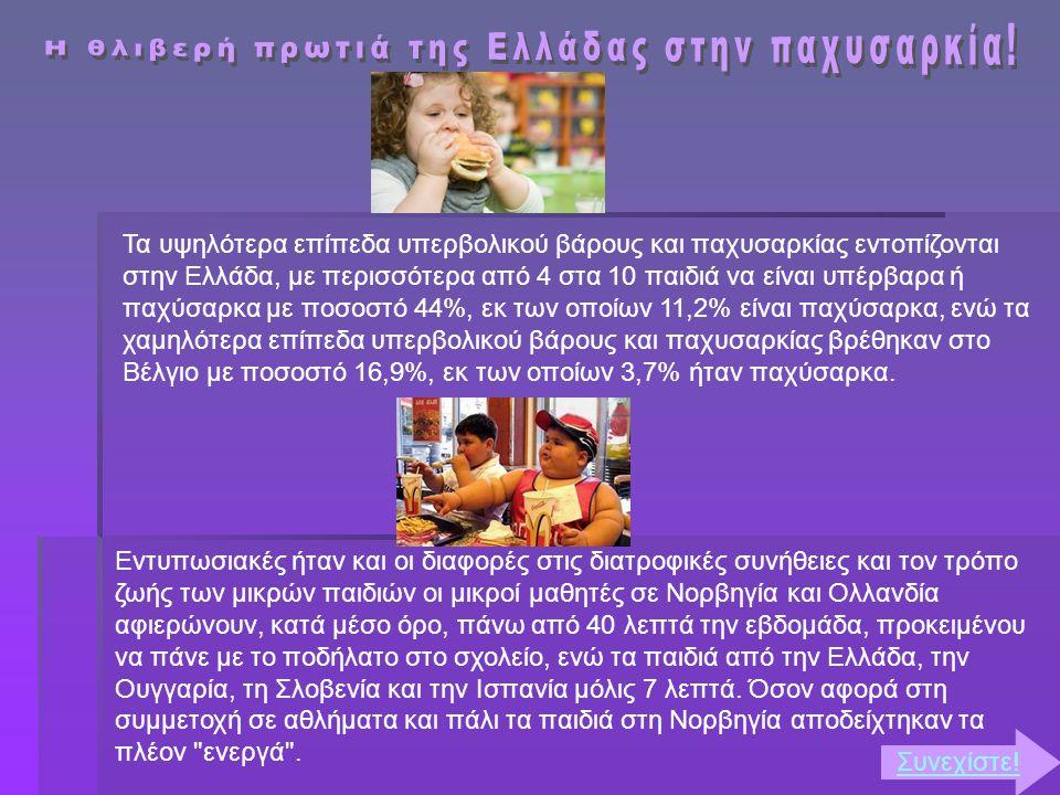Τα υψηλότερα επίπεδα υπερβολικού βάρους και παχυσαρκίας εντοπίζονται στην Ελλάδα, με περισσότερα από 4 στα 10 παιδιά να είναι υπέρβαρα ή παχύσαρκα με