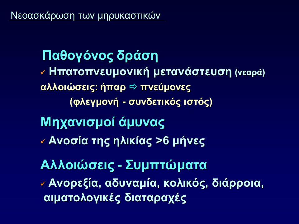 Νεοασκάρωση των μηρυκαστικών Παθογόνος δράση Παθογόνος δράση Ηπατοπνευμονική μετανάστευση (νεαρά) Ηπατοπνευμονική μετανάστευση (νεαρά) αλλοιώσεις: ήπα
