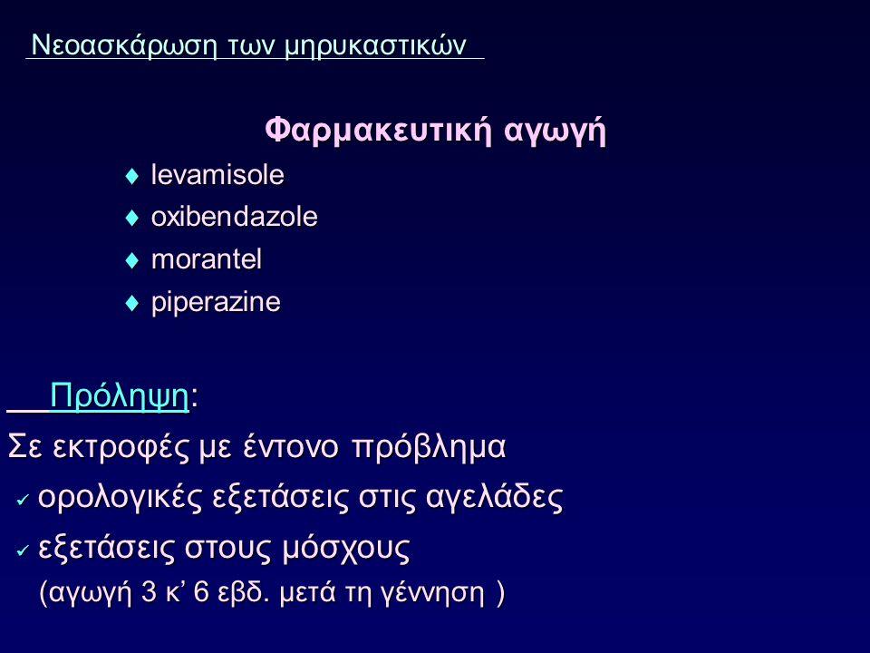 Νεοασκάρωση των μηρυκαστικών Φαρμακευτική αγωγή Φαρμακευτική αγωγή  levamisole  levamisole  oxibendazole  oxibendazole  morantel  morantel  piperazine  piperazine Πρόληψη: Σε εκτροφές με έντονο πρόβλημα ορολογικές εξετάσεις στις αγελάδες ορολογικές εξετάσεις στις αγελάδες εξετάσεις στους μόσχους εξετάσεις στους μόσχους (αγωγή 3 κ' 6 εβδ.