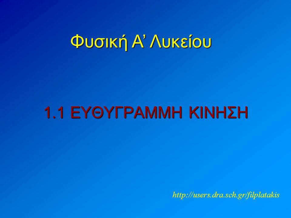 1.1 ΕΥΘΥΓΡΑΜΜΗ ΚΙΝΗΣΗ Φυσική A' Λυκείου http://users.dra.sch.gr/filplatakis