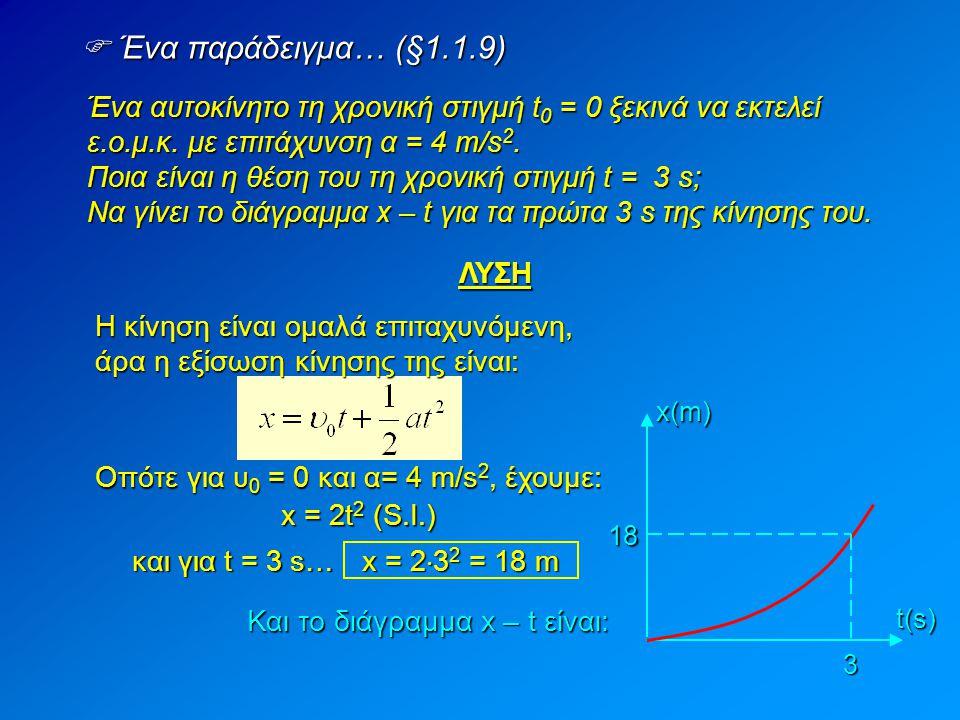t(s) 3 18 x(m)  Ένα παράδειγμα… (§1.1.9) Ένα αυτοκίνητο τη χρονική στιγμή t 0 = 0 ξεκινά να εκτελεί ε.ο.μ.κ. με επιτάχυνση α = 4 m/s 2. Ποια είναι η