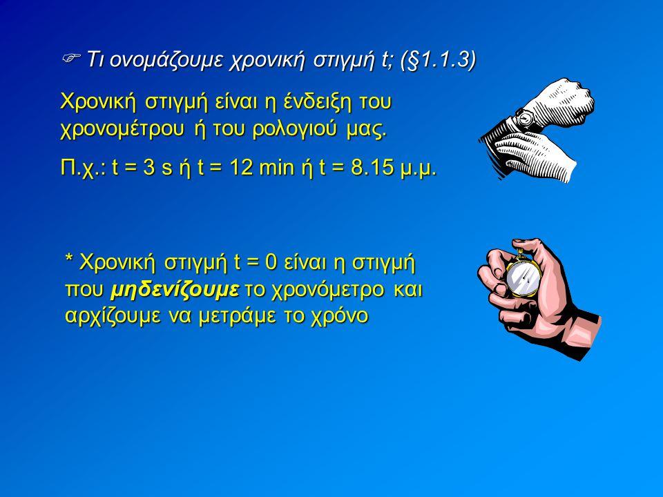  Τι ονομάζουμε χρονική στιγμή t; (§1.1.3) Χρονική στιγμή είναι η ένδειξη του χρονομέτρου ή του ρολογιού μας. Π.χ.: t = 3 s ή t = 12 min ή t = 8.15 μ.