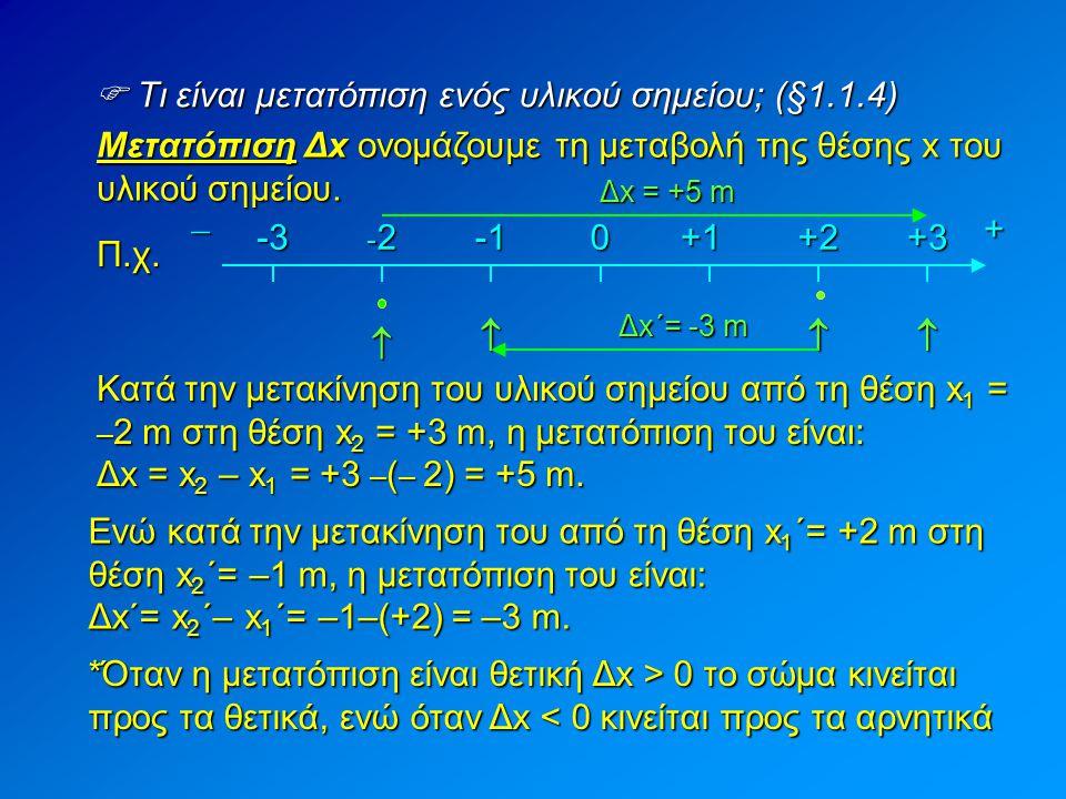  Προσοχή: Η μετατόπιση δεν ταυτίζεται πάντα με το διάστημα που διανύει ένα σώμα Π.χ.+̶-3 -2-2-2-2+1+2+30 Στην παραπάνω περίπτωση η μετατόπιση ταυτίζεται με το διάστημα που διάνυσε ο μαθητής (+5 m) +̶-3 -2-2-2-2+1+2+30 Όμως: Σ' αυτή τη περίπτωση η μετατόπιση είναι 3 m, ενώ το διάστημα που διάνυσε είναι 7 m Δx=+5m Δx=+3m Άρα: Η μετατόπιση ταυτίζεται με το διάστημα μόνο όταν η φορά της κίνησης παραμένει σταθερή