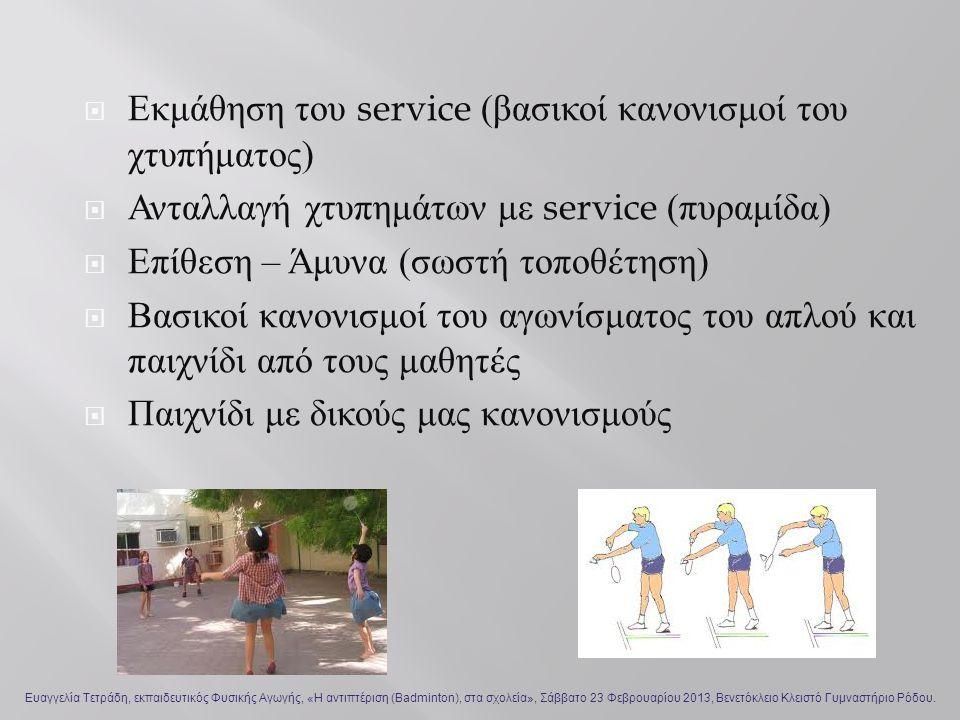  Εκμάθηση του service ( βασικοί κανονισμοί του χτυπήματος )  Ανταλλαγή χτυπημάτων με service ( πυραμίδα )  Επίθεση – Άμυνα ( σωστή τοποθέτηση )  Βασικοί κανονισμοί του αγωνίσματος του απλού και παιχνίδι από τους μαθητές  Παιχνίδι με δικούς μας κανονισμούς Ευαγγελία Τετράδη, εκπαιδευτικός Φυσικής Αγωγής, «Η αντιπτέριση (Badminton), στα σχολεία», Σάββατο 23 Φεβρουαρίου 2013, Βενετόκλειο Κλειστό Γυμναστήριο Ρόδου.