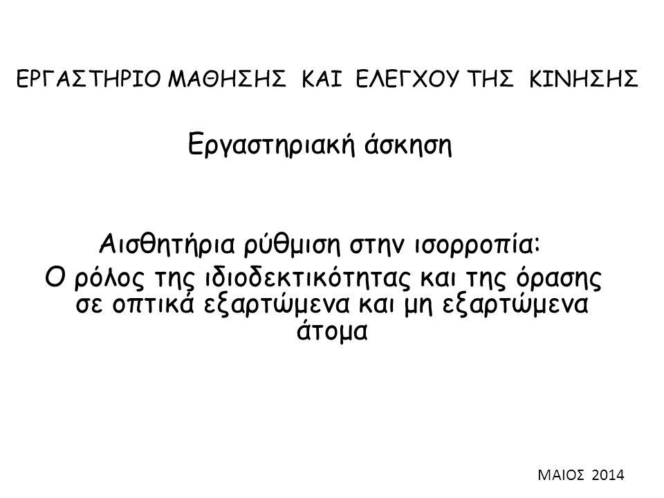Θεωρία – Ανασκόπηση βιβλιογραφίας Η συστηματική ενασχόληση με ανοικτού ή κλειστού τύπου αθλητικές δεξιότητες καθορίζει το βαθμό εξάρτησης από την όραση (Liu, 2003) Η ενασχόληση με δεξιότητες ανοικτού τύπου αυξάνει την εξάρτηση από την όραση (Φωτιάδης 2013) Πώς αυτό επηρεάζει την ισορροπία;;;